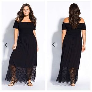 CITY CHIC Black Maxi Dress Off Shoulder Lace Hem